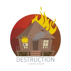 Vector Illustration Wooden Bungalow in Flame