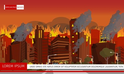 Vector Illustration Disaster City Absorbed by Fire