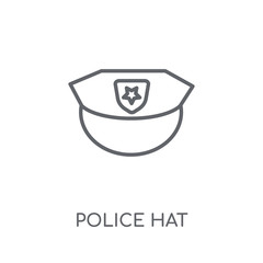Police hat linear icon. Modern outline Police hat logo concept on white background from law and justice collection