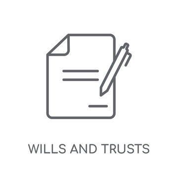 wills and trusts linear icon. Modern outline wills and trusts logo concept on white background from law and justice collection