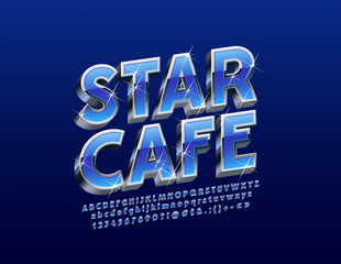 Vector stylish Logo Star Cafe. Luxury set of Letters, Numbers, Symbols. Blue and Silver 3D Font with sparkling Stars.