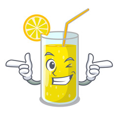 Wink glass fresh lemon juice on mascot