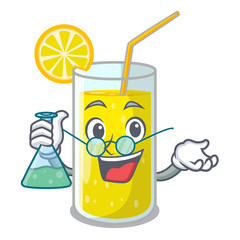 Professor glass fresh lemon juice on mascot