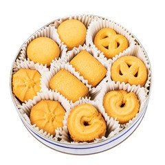 Sweet cookies in riund box