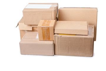 A stack of used packing boxes