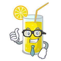 Businessman glass fresh lemon juice on mascot