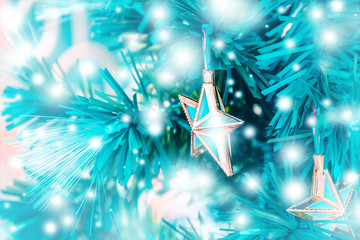 Christmas decorations on boken light background