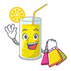 Shopping glass fresh lemon juice on mascot