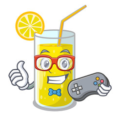 Gamer lemon juice glass on character table