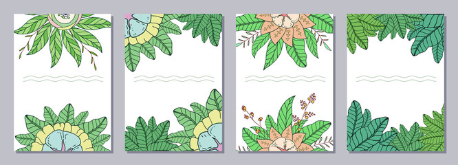 Set of isolated creative template cards, flyers, posters with doodle flowers.