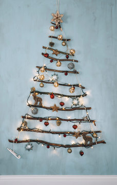 Objects: DIY christmas tree decoration with glowing lights