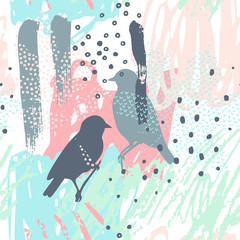 Modern vector illustration with dotted leaves, pair of birds silhouette, scrabbles, grunge textures, rough brush strokes, doodles.