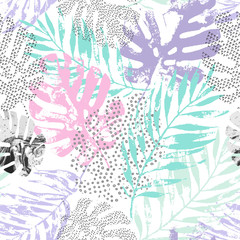 Keuken foto achterwand Grafische Prints Vector art illustration: rough grunge tropical leaves filled with marble texture, doodle elements background.