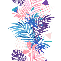 Photo sur Toile Empreintes Graphiques Creative seamless pattern inspired by summer holidays