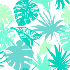 Vector tropic illustration in natural green colors