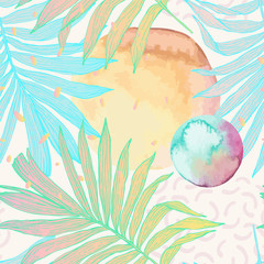 Keuken foto achterwand Grafische Prints Palm leaf in line art style with water color stains seamless pattern.