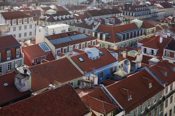 Roof tops of old buildings from Lisboa city, Portugal