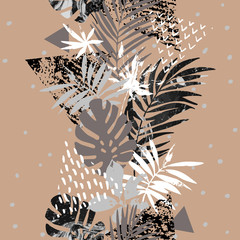 Art illustration with tropical leaves, grunge, marbling textures, doodles, geometric, minimal elements.
