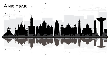 Amritsar India City Skyline Silhouette with Black Buildings Isolated on White.