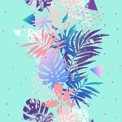 Keuken foto achterwand Grafische Prints Modern illustration with tropical leaves, grunge, marbling textures, doodles, geometric, minimal elements.