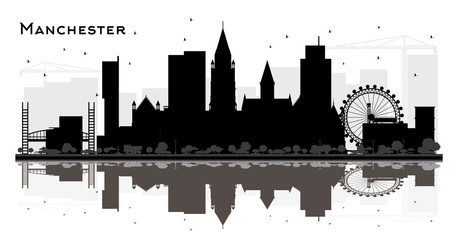 Manchester City Skyline Silhouette with Black Buildings Isolated on White.