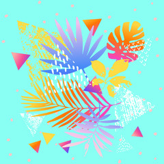 Keuken foto achterwand Grafische Prints Modern illustration with tropical leaves, marbling textures, doodles, geometric, minimal elements.