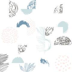 Keuken foto achterwand Grafische Prints Modern illustration with line art of tropical leaves, grunge textures, doodles, geometric elements.
