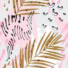 Keuken foto achterwand Grafische Prints Modern art illustration with tropical leaves, grunge, marbling textures, doodles, geometric, minimal elements.
