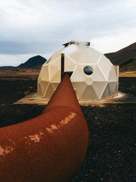 Futuristic Geothermal Power Plant in Iceland