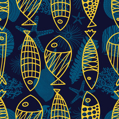 Cute line fish. Vector seamless pattern.