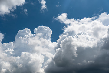 Closeup cumulus cloud with blue sky, Convectional and veretical clouds