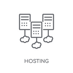 Hosting linear icon. Modern outline Hosting logo concept on white background from Programming collection