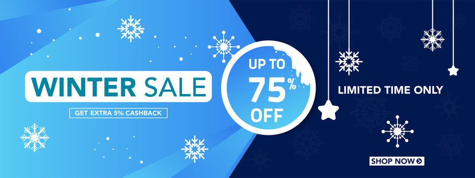 Winter sale banner template with snow flakes, ice snow shopping sale. end of winter Vector illustration