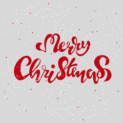 merry christmas hand lettering inscription to winter holiday design