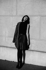 Black and white portrait of stylish woman