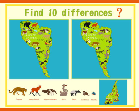 Find differences in the child's game. Animals of South America.