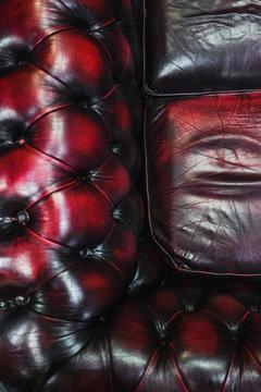Overhead shot of a leather sofa