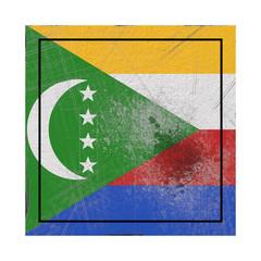 Comoros flag in concrete square