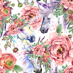 magic unicorn watercolor pattern. roses flowers seamless background