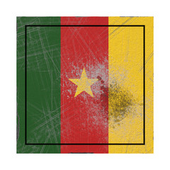 Cameroon flag in concrete square
