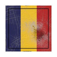 Republic of Chad flag in concrete square