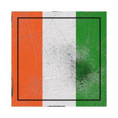 Ivory Coast flag in concrete square