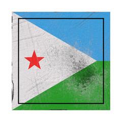 Djibouti flag in concrete square