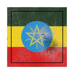 Ethiopia flag in concrete square