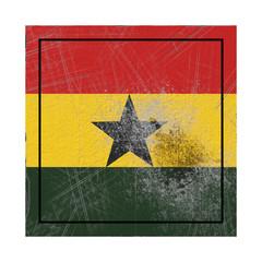 Ghana flag in concrete square