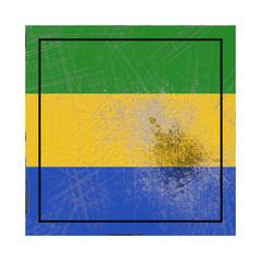 Gabon flag in concrete square