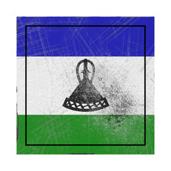 Lesotho flag in concrete square