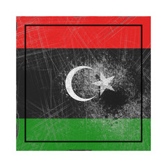 Libya flag in concrete square