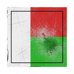 Madagascar flag in concrete square