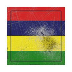 Mauritius flag in concrete square